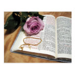 Bible & Purple Rose with Cross Chain Post Card