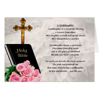 Bible & Roses Goddaughter Poem Greeting Card