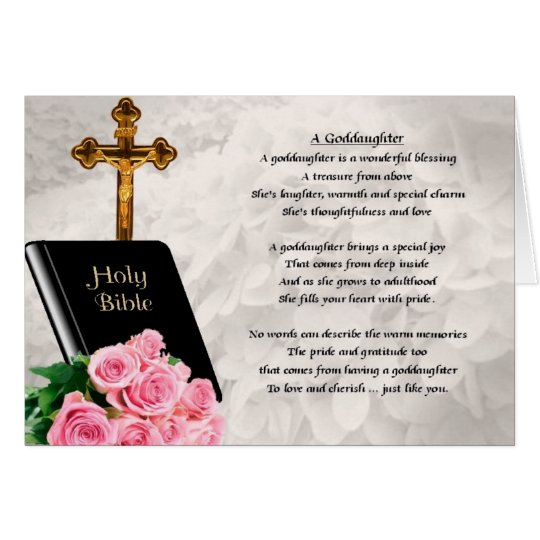 Bible & Roses Goddaughter Poem Greeting Card