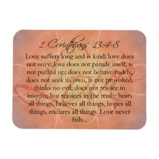 Bible Scripture Love Script on Orange Vintage Magnet