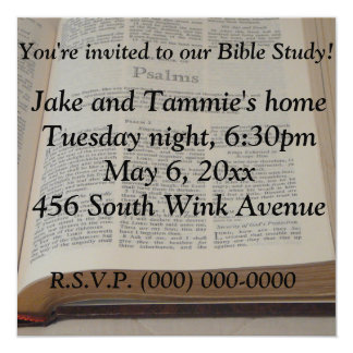 Bible Study 13 Cm X 13 Cm Square Invitation Card