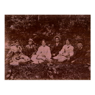 Bible Study in the Woods circa 1900 Postcard