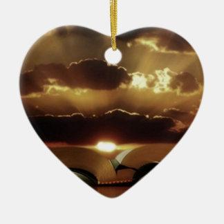 Bible Sunset Ceramic Heart Decoration