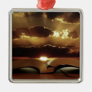 Bible Sunset Silver-Colored Square Decoration