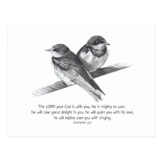 BIBLE TEXT: ZEPHANIAH: BIRDS IN PENCIL POSTCARD