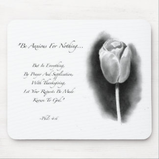 BIBLE VERS, ANXIETY: TULIP: PENCIL ART MOUSE PAD