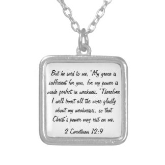 bible verse 2 Corinthians 12:9 necklace