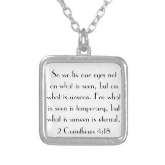 bible verse 2 Corinthians 4:18 Square Pendant Necklace