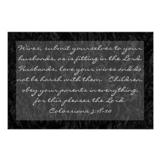 bible verse about family Colossians 3:18-20 Poster
