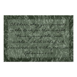 bible verse about family Ephesians 6:1-2 Poster