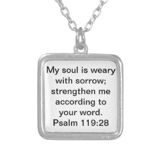 bible verse about strength Psalm 119:28 Square Pendant Necklace