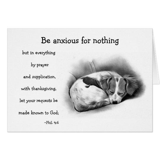 BIBLE VERSE, ANXIETY, COMFORT: PENCIL ART:puppy Card