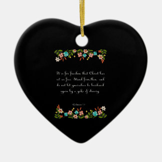 Bible Verse Art - Galatians 5:1 Ceramic Heart Decoration