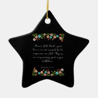 Bible Verse Art - Lamentation 3:22-23 Ceramic Star Decoration