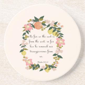 Bible Verse Art - Psalm 103:12 Beverage Coaster