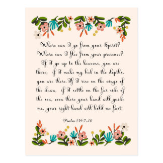 Bible Verse Art - Psalm 139:7-10 Postcard
