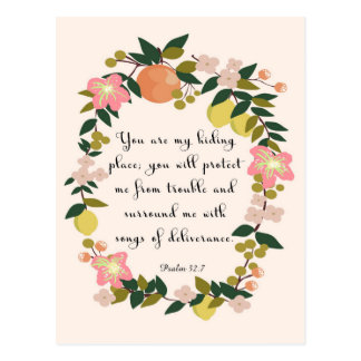 Bible Verse Art - Psalm 32:7 Postcard