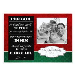 Bible Verse Christmas Card, John 3:16 with photo Custom Invite