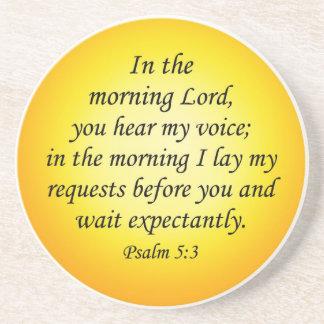 Bible verse coaster Psalm 5 3