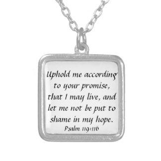 bible verse distress encouragement Psalm 119:116 Square Pendant Necklace