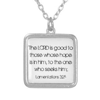 bible verse encouragement Lamentations 3:25 Square Pendant Necklace