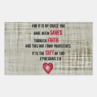 Bible Verse Ephesians 2:8 Rectangular Sticker