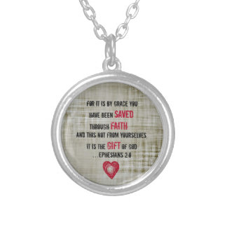 Bible Verse Ephesians 2:8 Silver Plated Necklace