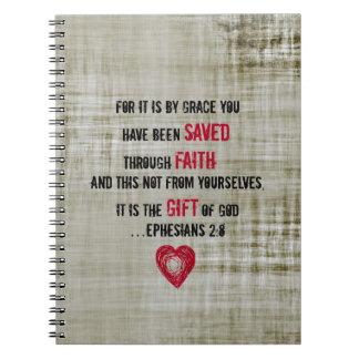 Bible Verse Ephesians 2:8 Spiral Notebook