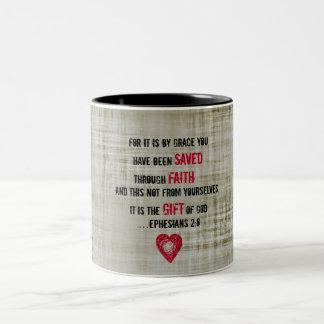 Bible Verse Ephesians 2:8 Two-Tone Coffee Mug