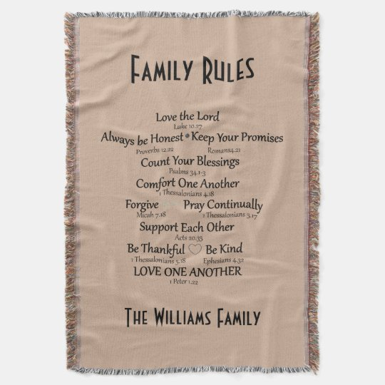 Bible Verse Family Rules Personalised Throw Blanket