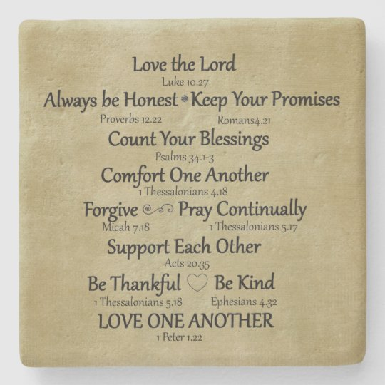 Bible Verse Family Rules Stone Coaster