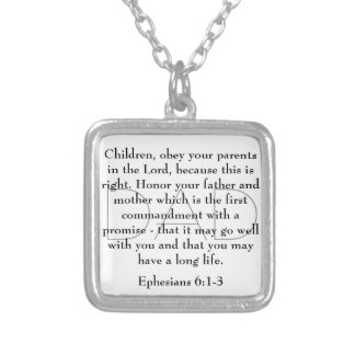 bible verse for Dad Ephesians 6:1-3 necklace