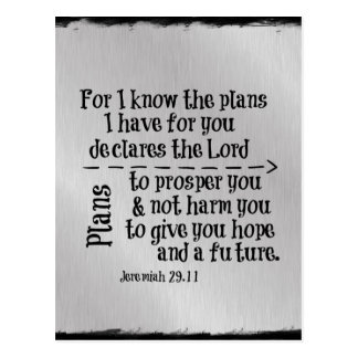 Bible Verse: For I know the Plans I have for you Postcard