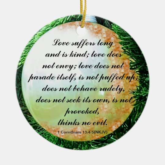 Bible verse for Love in General Christmas Ornament