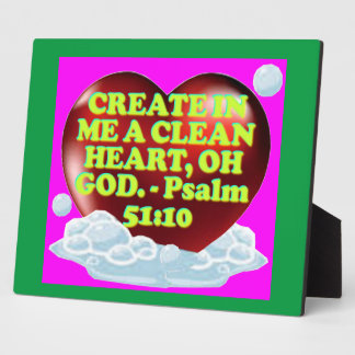 Bible verse from Psalm 51:10. Photo Plaques
