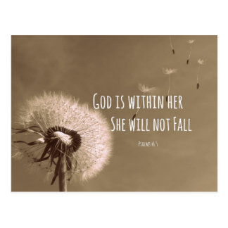 Bible Verse: God is within her, she will not fall Postcard