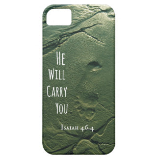 Bible Verse: He will Carry You with Footprints iPhone 5/5S Case