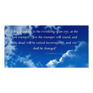 Bible Verse I Corinthians 15-52 Sky Invitation Car Photo Card Template