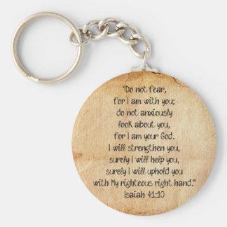 Bible Verse Isaiah 40:10 Basic Round Button Key Ring