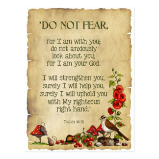 Bible Verse, Isaiah 41:10, Do Not Fear, Nature Art Postcard