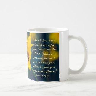 Bible Verse Jeremiah 29:11, Yellow Wildflower Basic White Mug