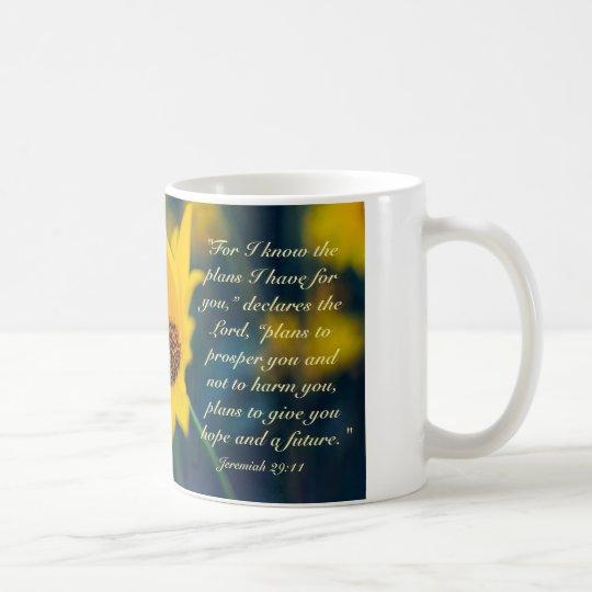 Bible Verse Jeremiah 29:11, Yellow Wildflower Coffee Mug