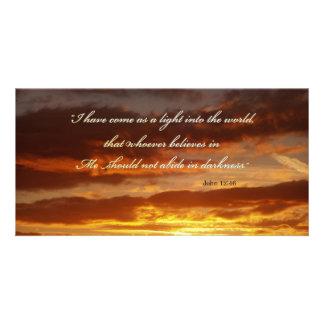 Bible Verse John 12 46 Over a Sky Invitation Card Picture Card