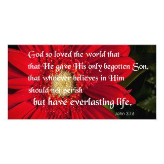 Bible Verse John 3:16 Flower Card Or Invitation Photo Card Template