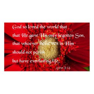 Bible Verse John 3:16 Over a Flower Business Card