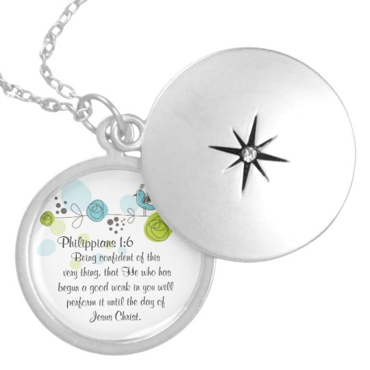 Bible Verse locket Necklace Gift Philippians 1:6