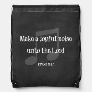 Bible Verse: Make a Joyful Noise Drawstring Bag