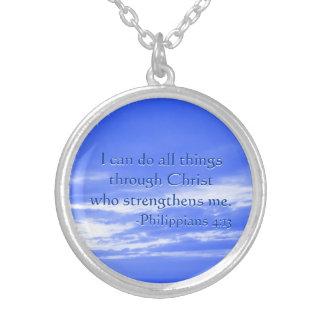 Bible Verse Philippians 4:13 Christian Strength Round Pendant Necklace