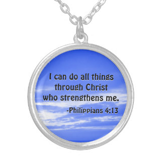 Bible Verse Philippians 4:13 Christian Strength Round Pendant Necklace