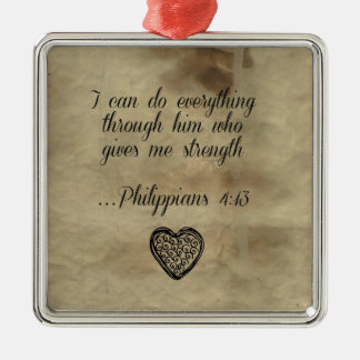 Bible Verse Philippians 4:13 Christmas Ornament